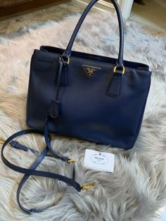 54b47c8120d560 Prada Saffiano Lux Tote Handbag in great condition Dark Blue Wednesday,  Thursday, Prada Handbags