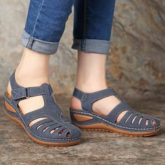 2020 NEW summer sandals women flat Ladies Comfortable Ankle Hollow Round Toe Sandals Soft Sole Shoes sandalias mujer 2020 Blue Sandals, Wedge Sandals, Shoes Sandals, Dress Shoes, Summer Sandals, Pump Shoes, Closed Toe Sandals, Gladiator Sandals, Sandals For Sale