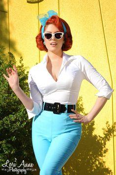 Vintage Inspired Figure Flattering 3/4 Sleeve Workwear Top in White | Pinup Girl Clothing