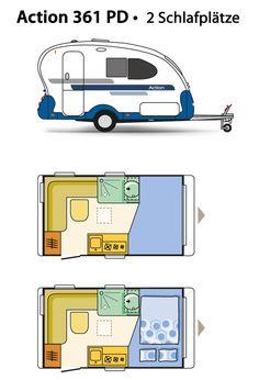 Adria Action 361 PD Grundriss - Klick aufs Bild öffnet Großansicht Lightweight Travel Trailers, Small Travel Trailers, Cargo Trailers, Camper Trailers, Pickup Camping, Rv Camping, Caravane Adria, Motorhome, Gypsy Wagon Interior