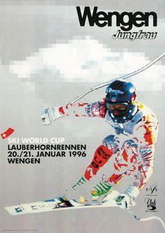 Ski World Cup. Lauberhornrennen 1996. Wengen, Berner Oberland. Plakat von Marti Ueli Marti.