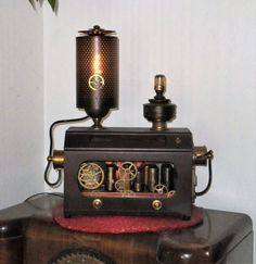 Steampunk inspired lighting - vintage industrial light fixture Machine age Steam Punk edison bulb desk table