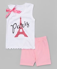 Look what I found on #zulily! Beary Basics White Eiffel Tower Tank & Pink Shorts - Infant, Toddler & Girls by Beary Basics #zulilyfinds