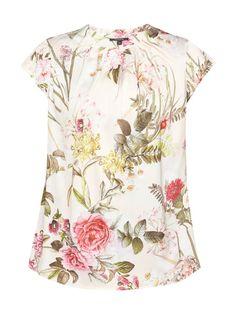 Blusenshirt mit floralem Muster Weiß - 1
