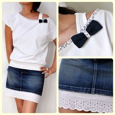 I like the idea of adding some cute fabric around the neck line. And lengthening the skirt with a bit of lace Artisanats Denim, Denim And Lace, Denim Skirt, Jean Diy, Diy Fashion, Womens Fashion, Fashion Ideas, Diy Vetement, Denim Ideas