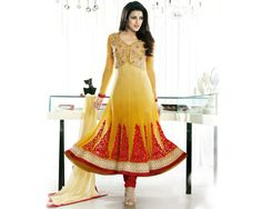 Designer Mustard Anarkali Suit With Red Embroidery by Ishimaya #DesignerIndianWear #AnarkaliSuit