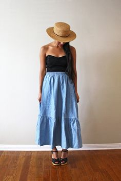 Melanie Chambray Skirt. S by HihloStudio on Etsy, $22.00 Denim Maxi, Chambray Skirt, Simple Summer Outfits, Summer Dresses, Natural Fashion, Spring Fever, Cami, Skirts, Strapless Dress