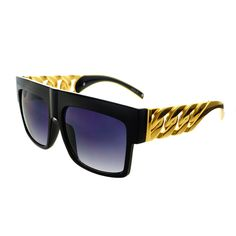Designer Retro Style Gold Chain Metal Arms Flat Top Sunglasses FT53