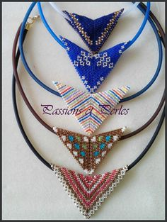Seed Bead Necklace, Beaded Necklace, Beaded Jewelry, Handmade Jewelry, Embroidery Stitches Tutorial, Peyote Beading, Tear, Triangle Earrings, Peyote Stitch
