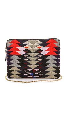 """Embroidered leather Lizzie Fortunato """"Safari"""" clutch"""