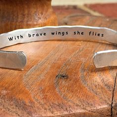 "Buy With brave wings she flies - Inside Secret Message Hand Stamped Cuff Stacking Bracelet Personalized 1/4"" Adjustable Hand by Dogwood and Molly on OpenSky"