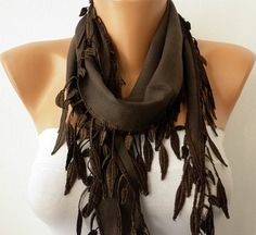 Brown Scarf   Pashmina  Scarf  by fatwoman, $13.50