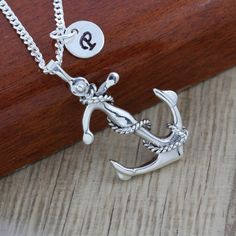 Sterling Silver Anchor necklace, Anchor pendant with initial, Silver Anchor jewelry, Friends, Love, Choose your chain
