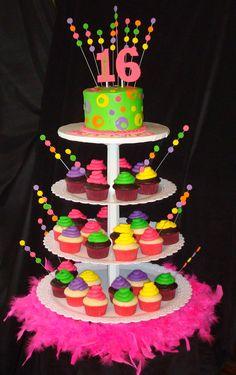 Sweet 16 Cupcakes | Neon Cupcake Tower | birthday cake ideas #sweet16 #quinceanera #cupcakes www.mayadigitalservices.com