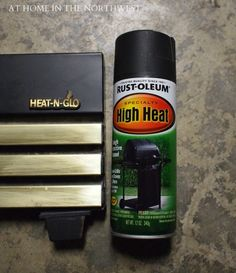 High Heat Spray Paint to rid of the brass finish on a fire place.I have wanted to get rid of that ugly brass finish for awhile. Fireplace Update, Fireplace Remodel, Fireplace Mantels, Brick Fireplace, Fireplaces, Fireplace Makeovers, Fireplace Doors, Fireplace Ideas, Mantle