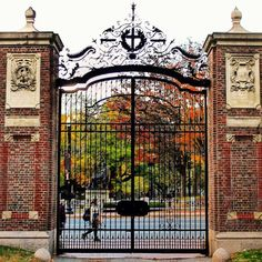 Johnston Gate on the west side of Harvard Yard, the historic center of Harvar. Harvard Yard, Harvard College, Harvard University, College Campus, College Life, Harvard Campus, College Board, Leaves Illustration, College Aesthetic