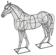 Topiary Horse If you just don't have the money, time or space for the horse someone you know has been asking for, then here's your solution. Fill this equestrian beaut Sculptures Sur Fil, Wire Sculptures, Chicken Wire Sculpture, Horse Anatomy, Horse Sculpture, Abstract Sculpture, Bronze Sculpture, Scrap Metal Art, Animal Sketches