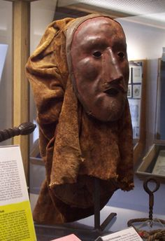German executioners mask. People in the old times believed that a person who was sentenced to death and led to the execution could give a curse through their facial expression. The executioner wore a mask to protect himself. At first the criminal was blindfolded and the executioner wore a mask which covered his face.