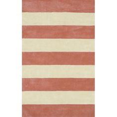 American Home Rug Co. Beach Rug Light Coral/Ivory Boardwalk Stripes Rug