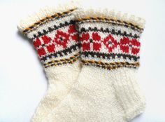 Handknitted wool socks for children, organic kids socks, soft, warm, comfortable socks with ancient latvian symbols Christmas gift idea. $20.00, via Etsy.
