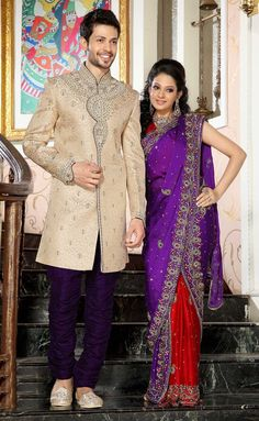 Cream Indowestern Sherwani With Purple Breaches AE0973