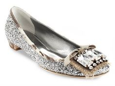 Imgend Silver sparkle crystals flats shoes