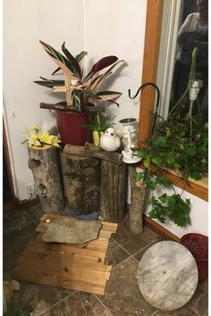 For the back I used the pieces of logs that i got to use For a flower stand. Flower Stands, Logs, Something To Do, Planter Pots, Easter, Display, Seasons, Flowers, Plants