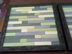 Wall art with paint stirrers painted and glued on top of framed glass. Paint Stirrers, Painted Sticks, Diy Art, Wood Signs, Dyi, Arts And Crafts, Auction, Bed Ideas, Wall Art