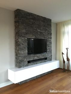 Own design by Inge Onderwater. Own design by Inge Onderwater. Fireplace Feature Wall, Build A Fireplace, Fireplace Remodel, Living Room With Fireplace, Design Living Room, Home Living Room, Living Room Decor, Modern Tv Wall Units, Apartment Ideas