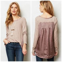 Anthropologie Bordeaux Rose Satine Long Sleeve Asymmetrical Lace Combo Top XS #Anthropologie #KnitTop #Casual