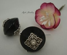 Stunning black glass and Tibetan silver earrings. 925 by annagiles,