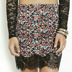NWT Floral Lace Hem Bottom Skirt, MEDIUM - Fabric content 95% polyester,  5 % spandex,  contrast 100 % nylon   - Website : www.ForYourBigDate.com Skirts