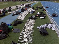 Stacked Cavalier horns while the corps learns drill...