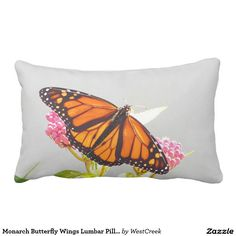 Monarch Butterfly Wings Lumbar Pillow
