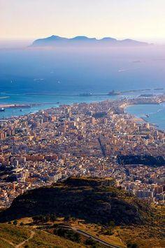 Vista di Trapani da monte Erice  - Sicily