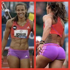 I think women value these male opinions. If I could choose a physique for my woman, this would be it!! I could care less if women or men say that is too much muscle....to me that is just plain FINE!!!!!...plus she's kinda cute (this photo got my molecules going)....I forgot to add, ......DAMN.....