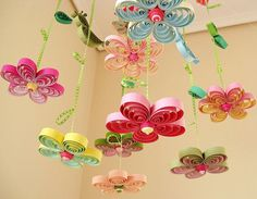 Items similar to Baby Mobile - Crib Mobile - Baby Nursery Mobile - Flower Mobile - Quilling Mobile - Baby Girl Mobiles - Birds in Rainbow Garden 8A , on Etsy