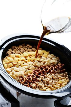 "Ali from Gimme Some Oven calls her Slow Cooker Chex Mix ""phenomenal"" and we totally agree!"