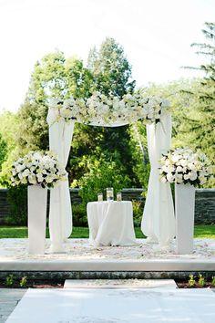 White Ceremony Structure  Photography: Kortnee Kate Read More: http://www.insideweddings.com/weddings/sophisticated-outdoor-wedding-celebration-in-cincinatti-ohio/424/