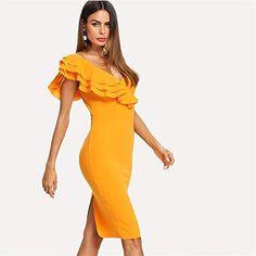 ecfca49454ee Sleeveless Ruffle Layered Flounce Trim Split Back V Neck Party Bodycon Dress  Women Summer Knee Length