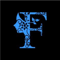 Graphic Design of Flower Clipart - Blue Alphabet F with Black Background