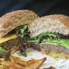 Homemade Black Bean Veggie Burgers Allrecipes.com.  I made these last night and they were absolutely delicious.  I won't miss burgers anymore now that I have this recipe.