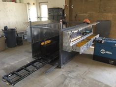 Testing positioning on the skid with new tool boxes and roll-out.
