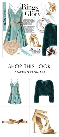 """""""Holiday Party"""" by zafiaida ❤ liked on Polyvore featuring Anja, Tiffany & Co., Topshop, BCBGMAXAZRIA, Michael Kors, Furla, dress and teal"""