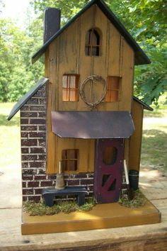 Primitive Folk Art Saltbox Mustard Brick Farmhouse Birdhouse Cabin Train Rustic