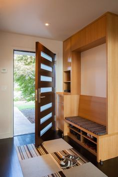 Amazing Gover Lane - Spectacular transformation of contemporary homes by Rossington Architectural . Entryway Bench Coat Rack, Old Door Bench, Hall Bench With Storage, Storage Bench Seating, Entry Bench, Built In Bench, Entry Doors, Front Entry, Front Porch