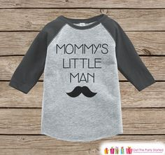 Baby Boy Outfit - Grey Raglan Shirt - Mommy's Little Man Mustache Onepiece or Tshirt - Happy Mothers Day Gift - Boys Raglan Tee - Little Man