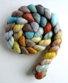 Polwarth Silk wool roving, hand spinning fiber, hand dyed unspun wool roving, Three Waters Farm, Bottomland