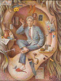 Auseklis BAUŠKENIEKS | Latvian | Jelgava, Latvia 1910—Riga, Latvia 2007.  In God's Ear. Self-Portrait, 1980