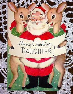 Vintage Christmas Greeting Card- Rust Craft Die Cut Santa & Reindeer EB1638